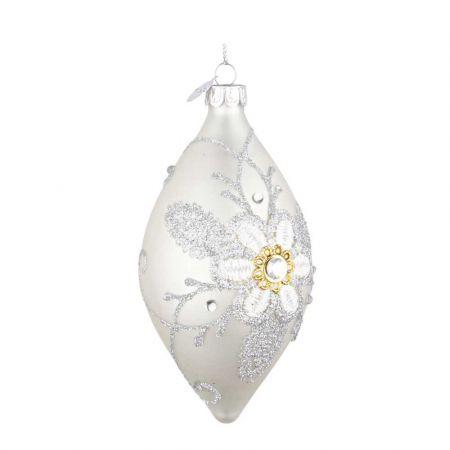 Χριστουγεννιάτικη μπάλα - δάκρυ γυάλινη με κέντημα λουλούδι - Λευκή ματ 6,5x13cm