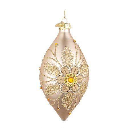 Χριστουγεννιάτικη μπάλα - δάκρυ γυάλινη με κέντημα λουλούδι - Χρυσή ματ 6,5x13cm