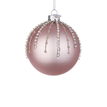 Χριστουγεννιάτικη μπάλα γυάλινη με χάντρες και glitter - Ροζ ματ 8cm