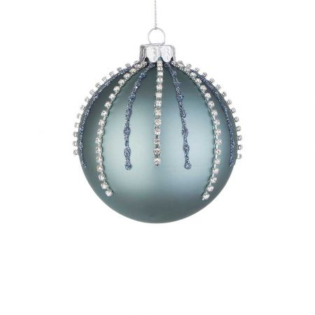 Χριστουγεννιάτικη μπάλα γυάλινη με χάντρες και glitter - Τουρκουάζ ματ 8cm