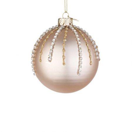 Χριστουγεννιάτικη μπάλα γυάλινη με χάντρες και glitter - Σαμπανί ματ 8cm