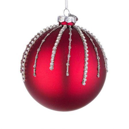 Χριστουγεννιάτικη μπάλα γυάλινη με χάντρες και glitter - Κόκκινη ματ 10cm