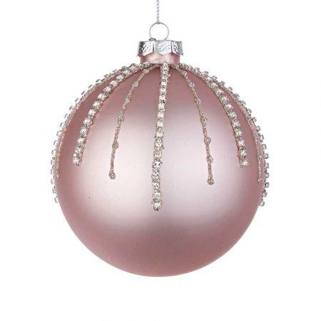 Χριστουγεννιάτικη μπάλα γυάλινη με χάντρες και glitter - Ροζ ματ 10cm
