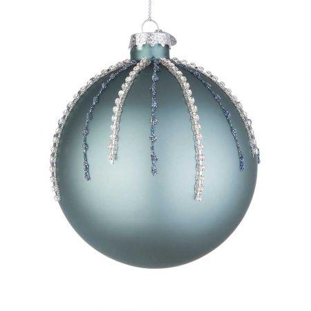 Χριστουγεννιάτικη μπάλα γυάλινη με χάντρες και glitter - Τουρκουάζ ματ 10cm