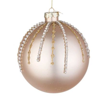 Χριστουγεννιάτικη μπάλα γυάλινη με χάντρες και glitter - Σαμπανί ματ 10cm