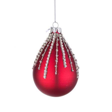 Χριστουγεννιάτικη μπάλα - δάκρυ γυάλινη με χάντρες και glitter - Κόκκινο ματ 6,7x10,2cm