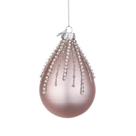 Χριστουγεννιάτικη μπάλα - δάκρυ γυάλινη με χάντρες και glitter - Ροζ ματ 6,7x10,2cm