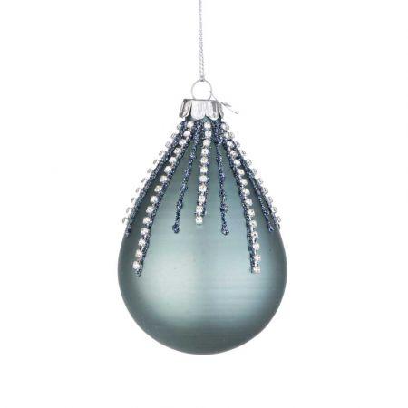 Χριστουγεννιάτικη μπάλα - δάκρυ γυάλινη με χάντρες και glitter - Τουρκουάζ ματ 6,7x10,2cm
