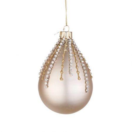 Χριστουγεννιάτικη μπάλα - δάκρυ γυάλινη με χάντρες και glitter - Σαμπανί ματ 6,7x10,2cm
