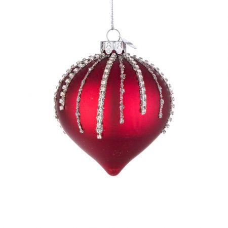 Χριστουγεννιάτικη μπάλα - δάκρυ γυάλινη με χάντρες και glitter - Κόκκινο ματ 8x9cm