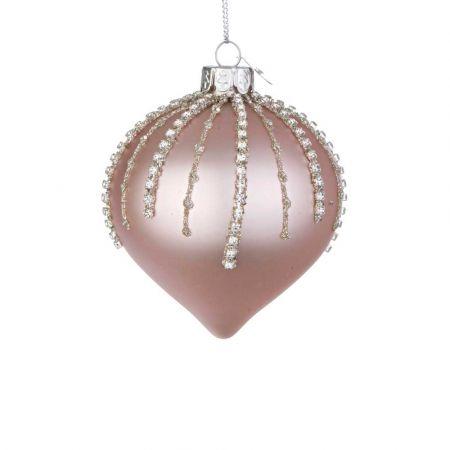 Χριστουγεννιάτικη μπάλα - δάκρυ γυάλινη με χάντρες και glitter - Ροζ ματ 8x9cm