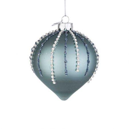 Χριστουγεννιάτικη μπάλα - δάκρυ γυάλινη με χάντρες και glitter - Τουρκουάζ ματ 8x9cm