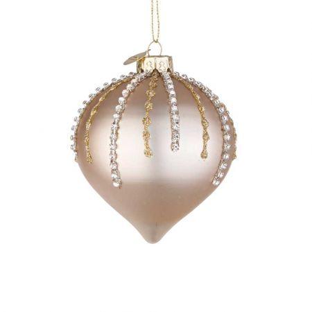 Χριστουγεννιάτικη μπάλα - δάκρυ γυάλινη με χάντρες και glitter - Σαμπανί ματ 8x9cm