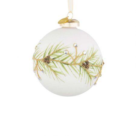 Χριστουγεννιάτικη μπάλα γυάλινη με κλαδάκι από glitter και χάντρες Λευκή ματ 8cm