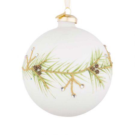 Χριστουγεννιάτικη μπάλα γυάλινη με κλαδάκι από glitter και χάντρες Λευκή ματ 10cm