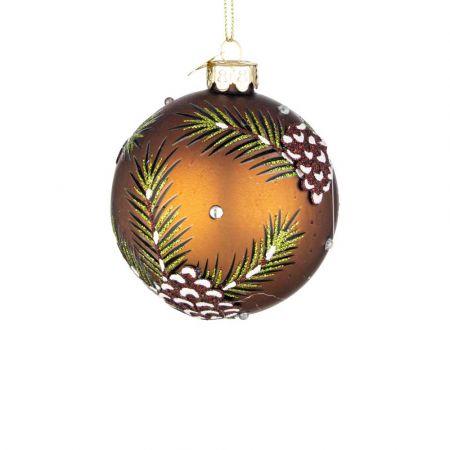 Χριστουγεννιάτικη μπάλα γυάλινη με φύλλα και κουκουνάρια Χάλκινη ματ 8cm