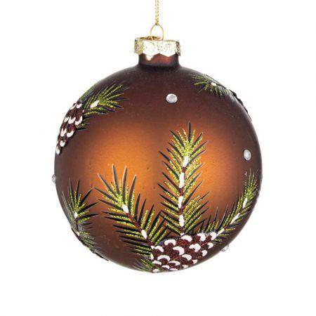 Χριστουγεννιάτικη μπάλα γυάλινη με φύλλα και κουκουνάρια Χάλκινη ματ 10cm
