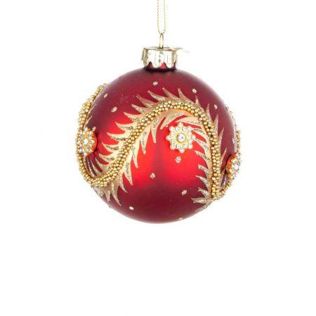 Χριστουγεννιάτικη μπάλα γυάλινη με χάντρες και glitter - Κόκκινη ματ 8cm