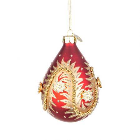 Χριστουγεννιάτικη μπάλα - δάκρυ γυάλινη με χάντρες και glitter - Κόκκινη ματ 7x10,2cm