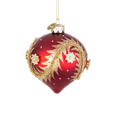 Χριστουγεννιάτικη μπάλα - δάκρυ γυάλινη με χάντρες και glitter - Κόκκινη ματ 8x9cm