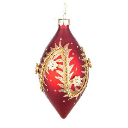 Χριστουγεννιάτικη μπάλα - δάκρυ γυάλινη με χάντρες και glitter - Κόκκινη ματ 7x13cm
