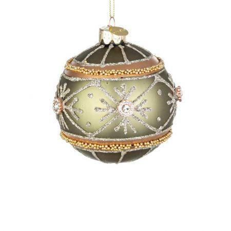 Χριστουγεννιάτικη μπάλα γυάλινη με νιφάδες, χάντρες και glitter - Πράσινο ματ 8cm