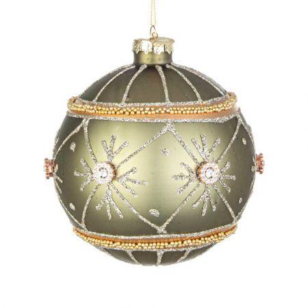 Χριστουγεννιάτικη μπάλα γυάλινη με νιφάδες, χάντρες και glitter - Πράσινο ματ 10cm