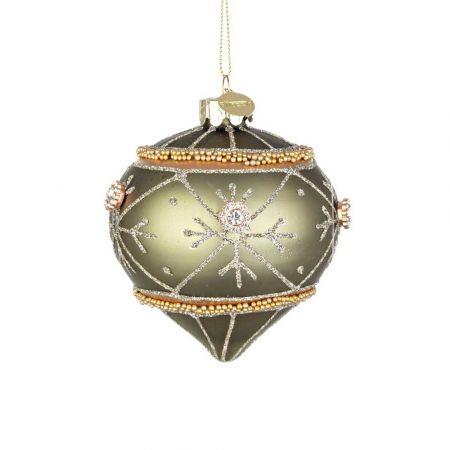 Χριστουγεννιάτικη μπάλα - δάκρυ γυάλινη με νιφάδες, χάντρες και glitter - Πράσινο ματ 8x9cm