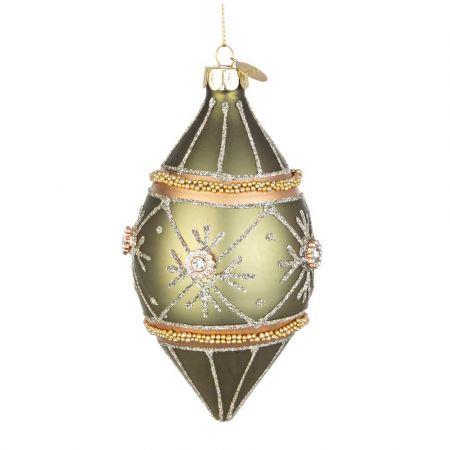 Χριστουγεννιάτικη μπάλα - δάκρυ γυάλινη με νιφάδες, χάντρες και glitter - Πράσινο ματ 7x13cm