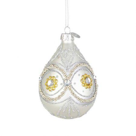 Χριστουγεννιάτικη μπάλα - δάκρυ γυάλινη με μάτι από Ασημί χάντρες και glitter - Λευκή ματ 6,7x10,2cm