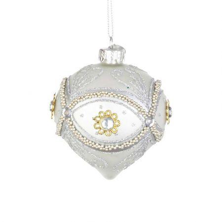 Χριστουγεννιάτικη μπάλα - δάκρυ γυάλινη με μάτι από Ασημί χάντρες και glitter - Λευκή ματ 8x9cm