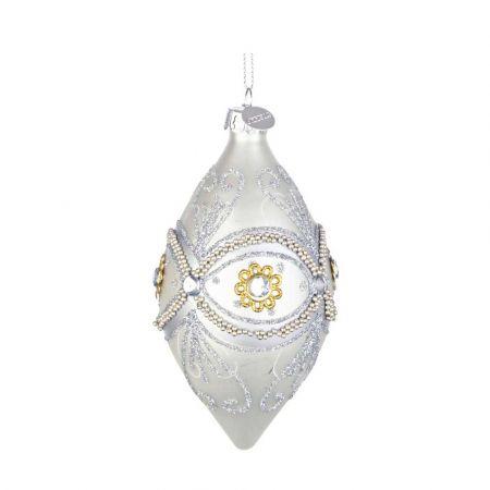 Χριστουγεννιάτικη μπάλα - δάκρυ γυάλινη με μάτι από Ασημί χάντρες και glitter - Λευκή ματ 6,5x13cm