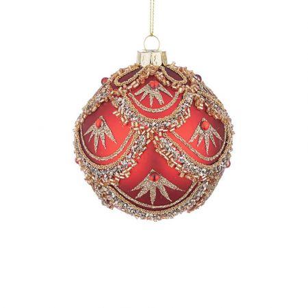 Χριστουγεννιάτικη μπάλα γυάλινη με χάντρες και Χρυσό glitter - Κόκκινη ματ 8cm