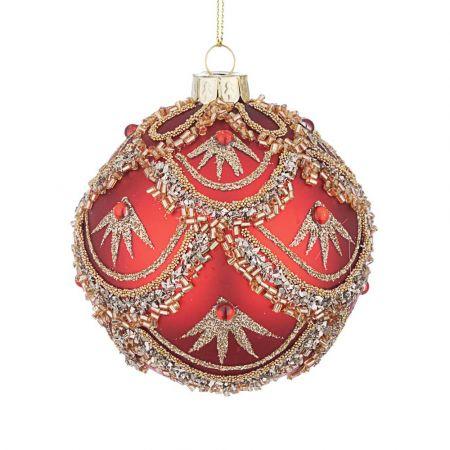 Χριστουγεννιάτικη μπάλα γυάλινη με χάντρες και Χρυσό glitter - Κόκκινη ματ 10cm