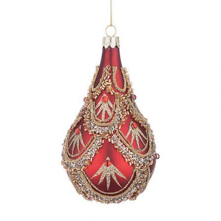 Χριστουγεννιάτικη μπάλα - δάκρυ γυάλινη με χάντρες και Χρυσό glitter - Κόκκινη ματ 7,3x12,5cm