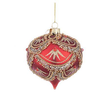 Χριστουγεννιάτικη μπάλα - δάκρυ γυάλινη με χάντρες και Χρυσό glitter - Κόκκινη ματ 8x9cm