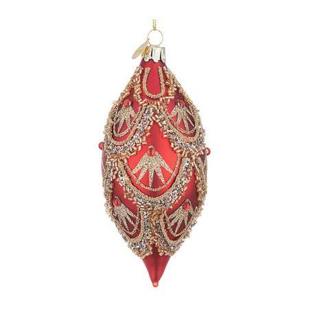 Χριστουγεννιάτικη μπάλα - δάκρυ γυάλινη με χάντρες και Χρυσό glitter - Κόκκινη ματ 6x13,5cm