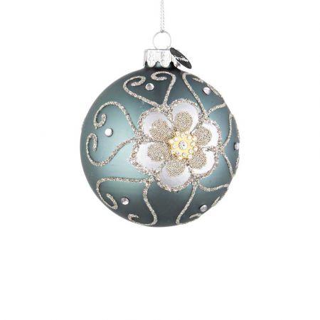 Χριστουγεννιάτικη μπάλα γυάλινη με λουλούδι από χάντρες και glitter - Τουρκουάζ ματ 8cm