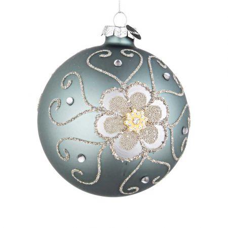 Χριστουγεννιάτικη μπάλα γυάλινη με λουλούδι από χάντρες και glitter - Τουρκουάζ ματ 10cm