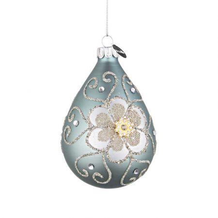 Χριστουγεννιάτικη μπάλα - δάκρυ γυάλινη με λουλούδι από χάντρες και glitter - Τουρκουάζ ματ 7x10,2cm