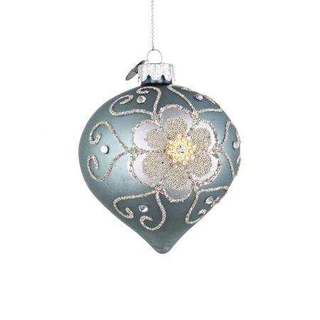 Χριστουγεννιάτικη μπάλα -δάκρυ γυάλινη με λουλούδι από χάντρες και glitter - Τουρκουάζ ματ 8x9cm