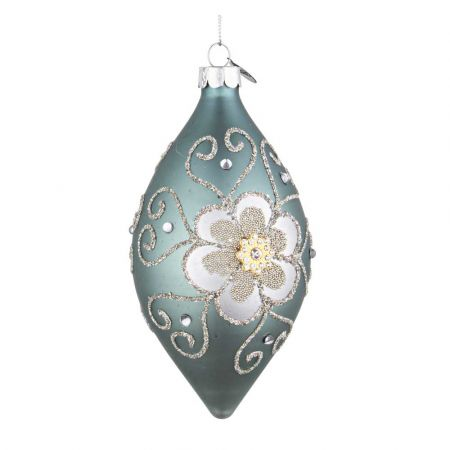 Χριστουγεννιάτικη μπάλα - δάκρυ γυάλινη με λουλούδι από χάντρες και glitter - Τουρκουάζ ματ 7x13cm