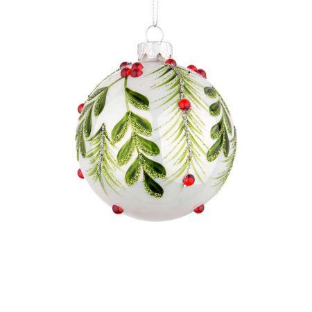 Χριστουγεννιάτικη μπάλα γυάλινη με φύλλα και berries - Λευκή γυαλιστερή 8cm