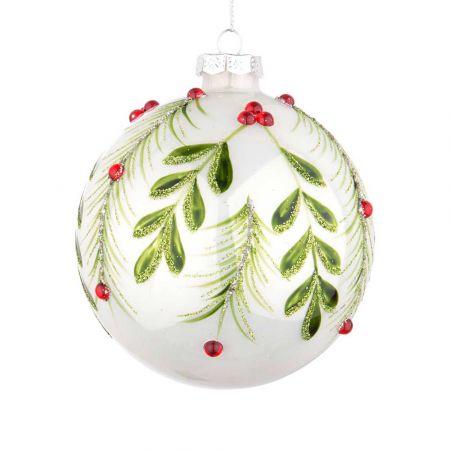 Χριστουγεννιάτικη μπάλα γυάλινη με φύλλα και berries - Λευκή γυαλιστερή 10cm
