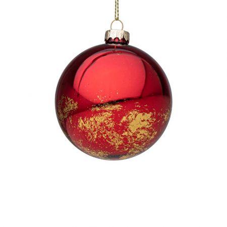 Χριστουγεννιάτικη μπάλα γυάλινη με Χρυσές πινελιές - Κόκκινη γυαλιστερή 8cm