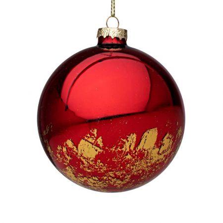 Χριστουγεννιάτικη μπάλα γυάλινη με Χρυσές πινελιές - Κόκκινη γυαλιστερή 10cm