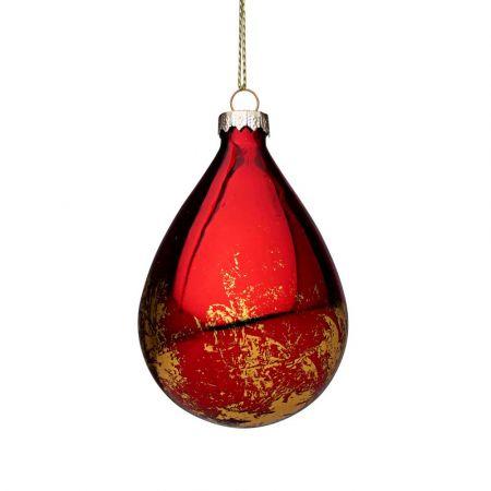 Χριστουγεννιάτικη μπάλα - δάκρυ γυάλινη με Χρυσές πινελιές - Κόκκινη γυαλιστερή 6,7x10,2cm