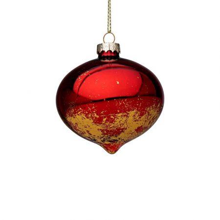 Χριστουγεννιάτικη μπάλα - δάκρυ γυάλινη με Χρυσές πινελιές - Κόκκινη γυαλιστερή 7,8x8cm