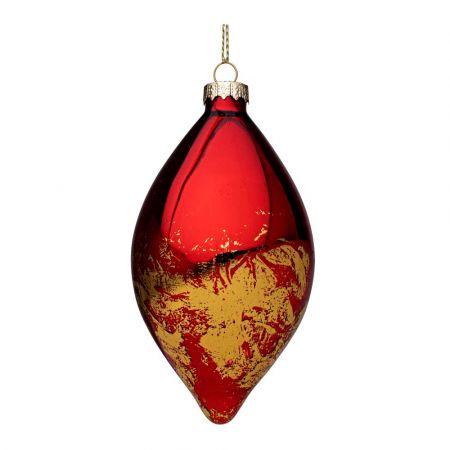 Χριστουγεννιάτικη μπάλα - δάκρυ γυάλινη με Χρυσές πινελιές - Κόκκινη γυαλιστερή 6,7x12,6cm