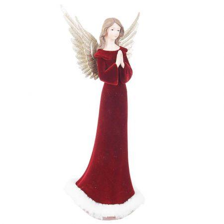 Επιτραπέζιο διακοσμητικό - Άγγελος polyresin Μπορντό 16,5x12x36,5cm